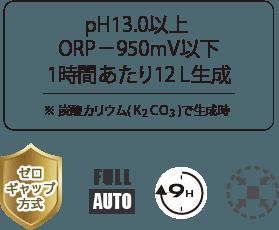 ph13以上/orp-950mv以下/1時間あたり12L生成